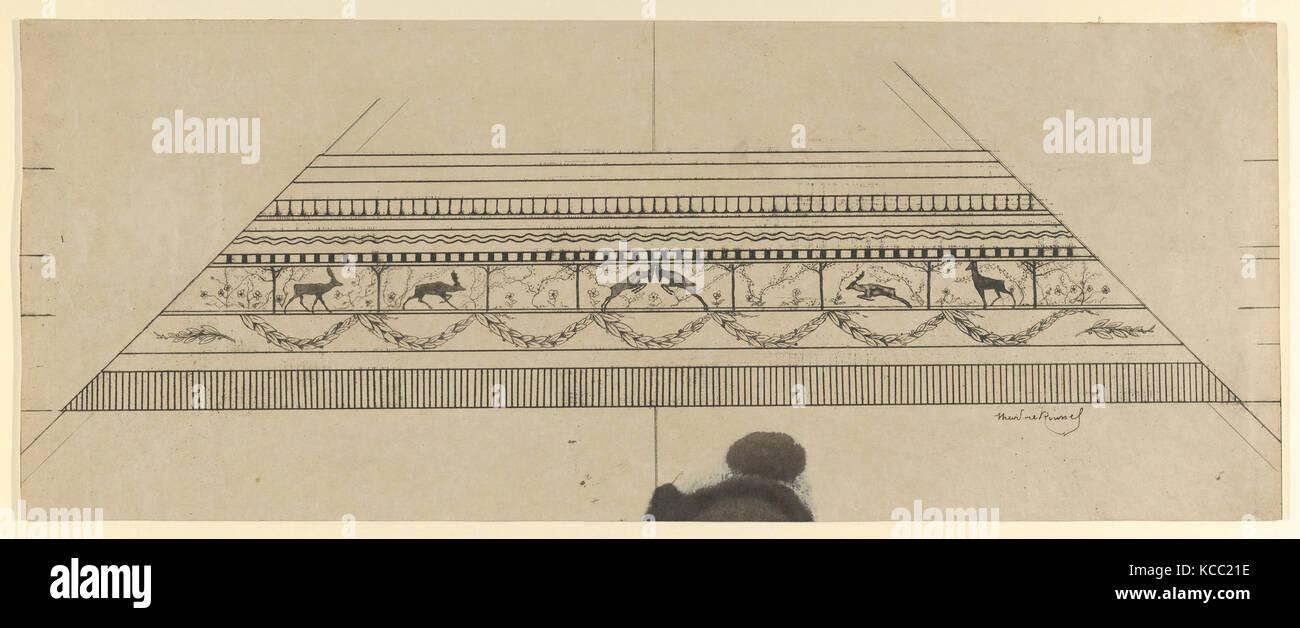 Hirsch und Blumenmuster Rahmen, 1897-99, Ätzen und softground, Blatt: 8 3/8 x 21 in. (21,2 x 53,4 cm), Drucke Stockbild