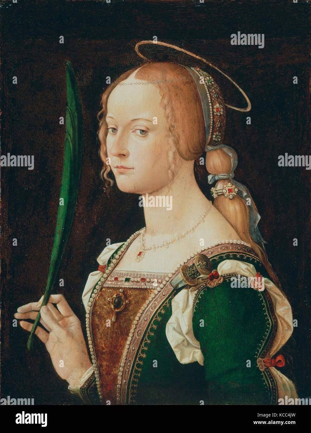 Hl. Justina von Padua, 1490, Öl auf Holz, insgesamt, mit zusätzlichen Streifen, 19 1/2 x 15 1/8 in. (49,5 Stockbild