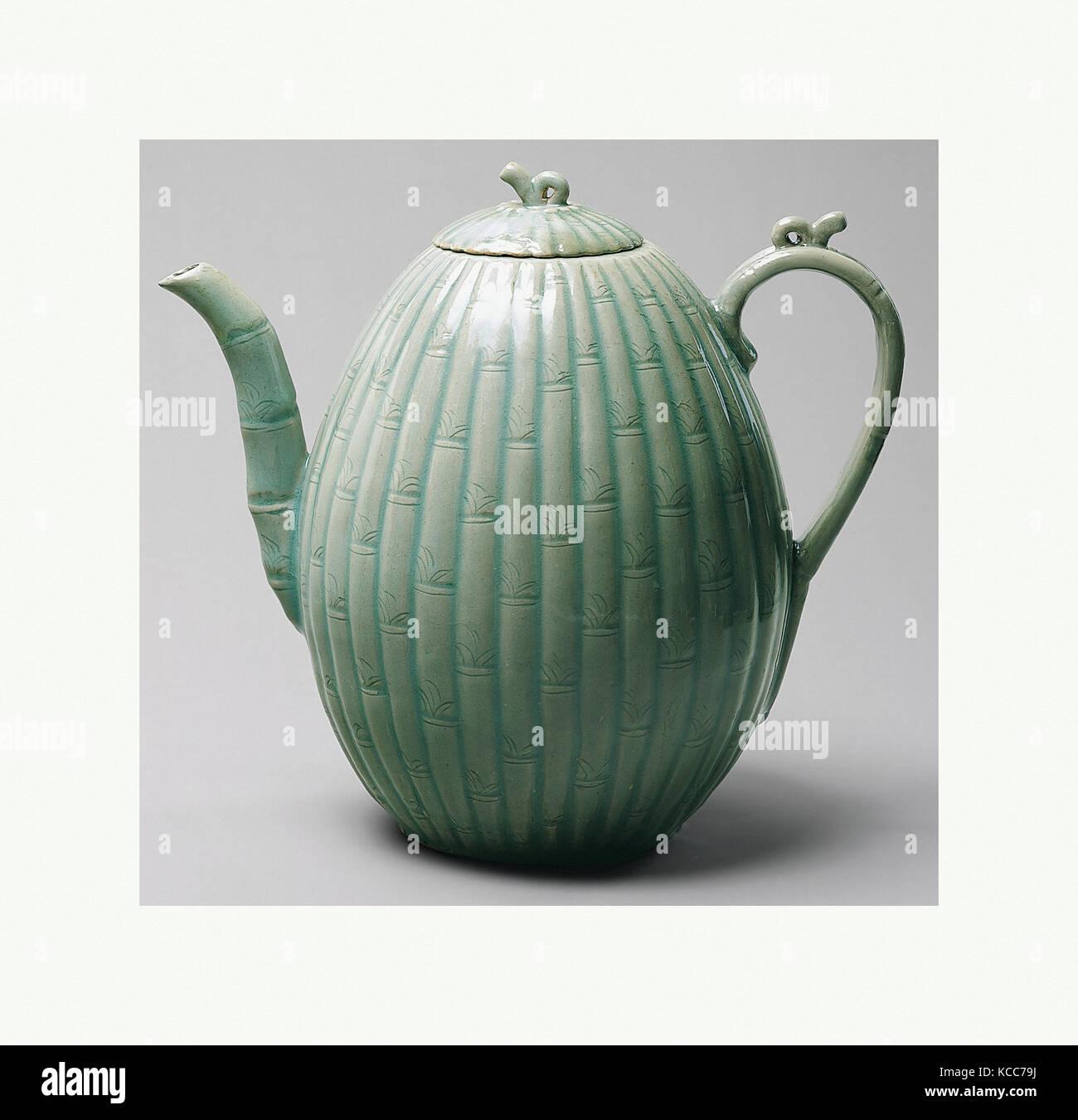 Melone Formige Ewer Mit Bambus Dekoration 청자 양각 대나무 마디