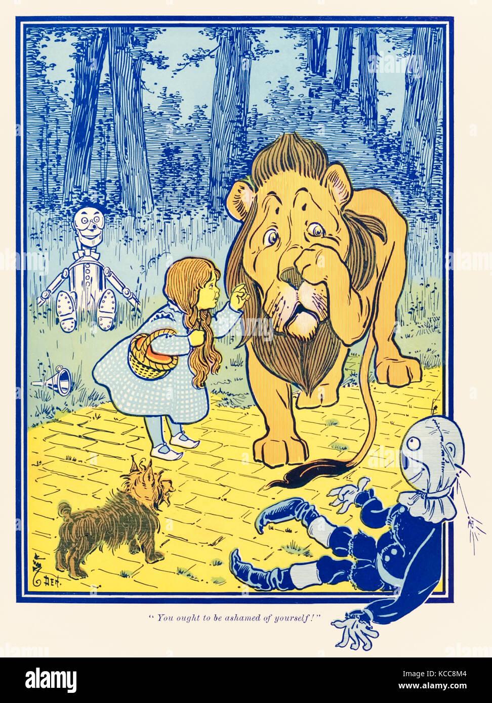"""""""Sie sollten sich schämen!"""" aus """"Der Zauberer von Oz"""" von L.Frank Baum (1856-1919) mit Stockbild"""