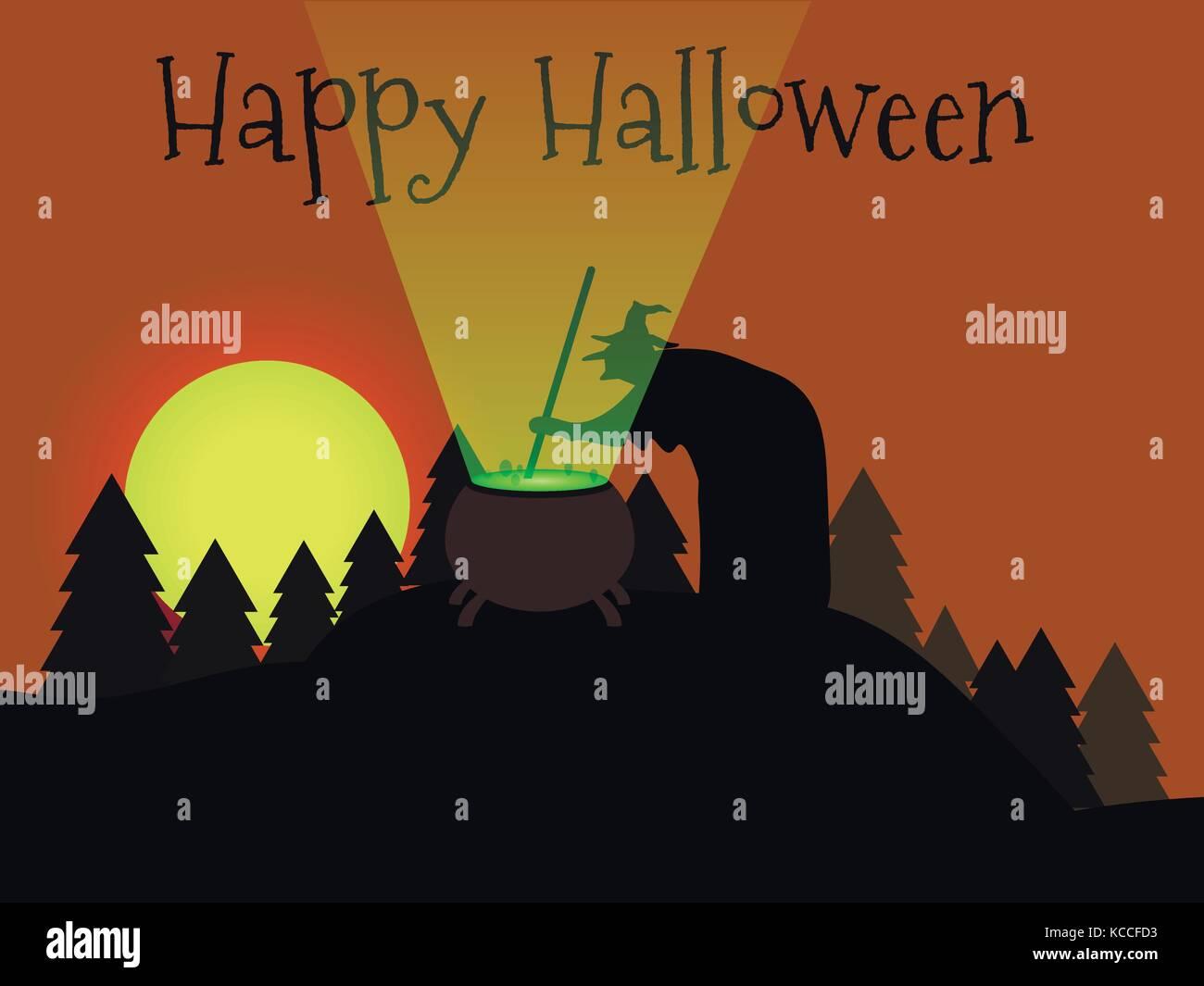 Happy Halloween. Die Hexe Brauen ist ein Trank im Wald ...