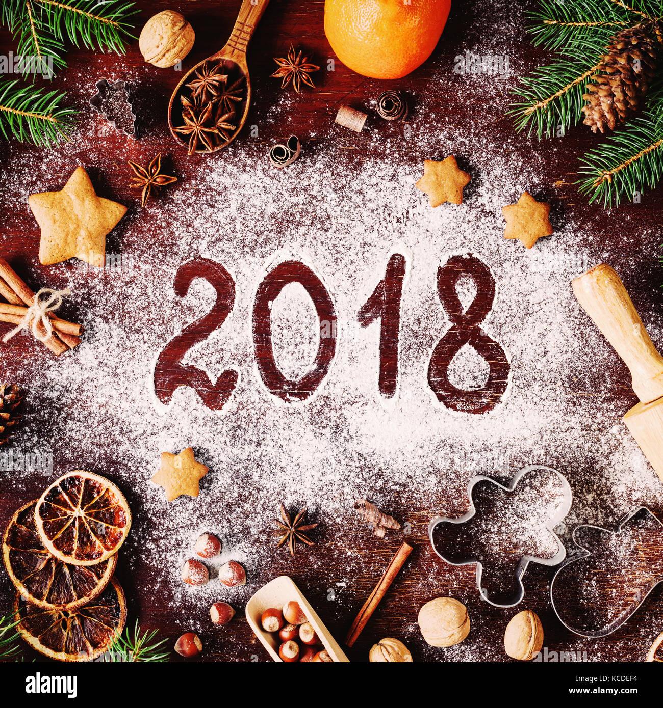 Silvester Oder Weihnachten 2018 Auf Mehl Geschrieben