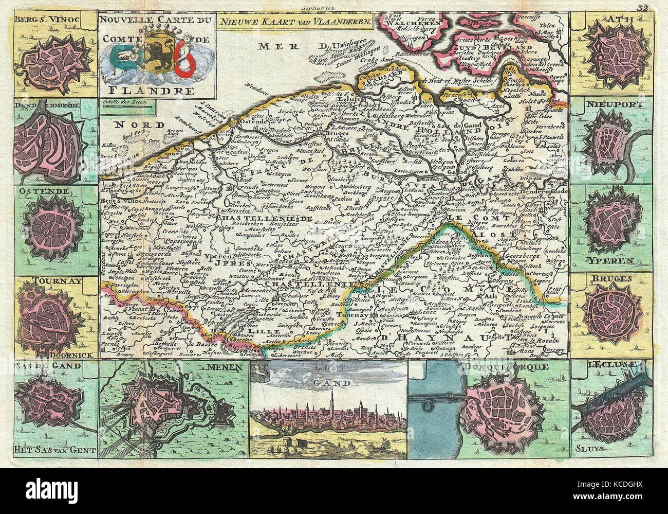 Karte Von Holland Und Belgien.1747 La Feuille Karte Von Flandern Holland Und Belgien