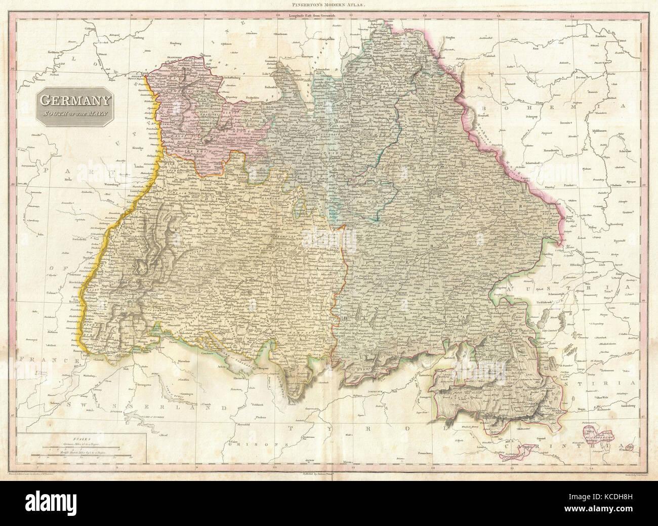 Schwaben Karte Deutschland.1818 Pinkerton Karte Des Südwestlichen Deutschland Bayern