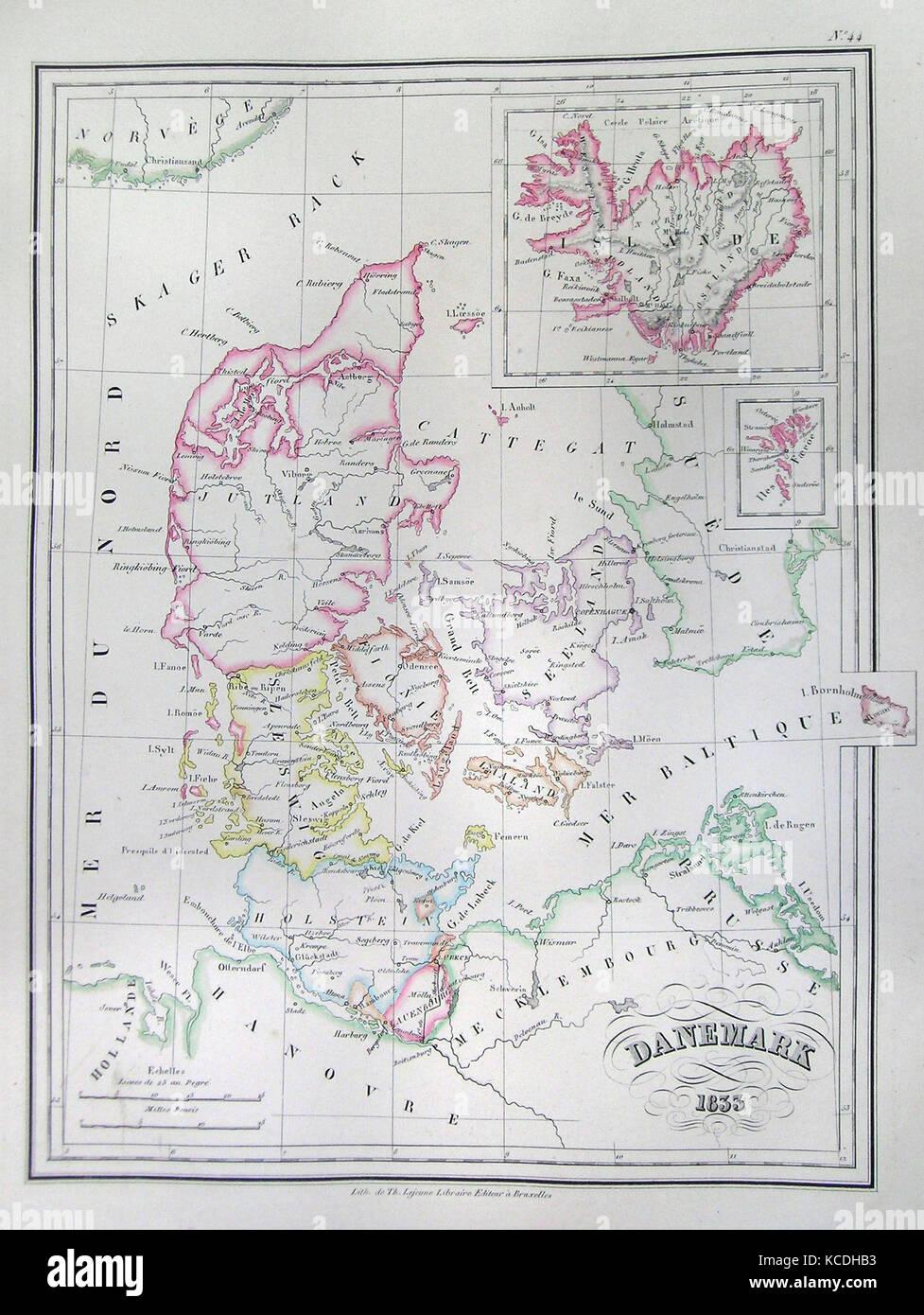 Färöer Inseln Karte.1833 Malte Brun Karte Von Dänemark Island Und Die Färöer Inseln