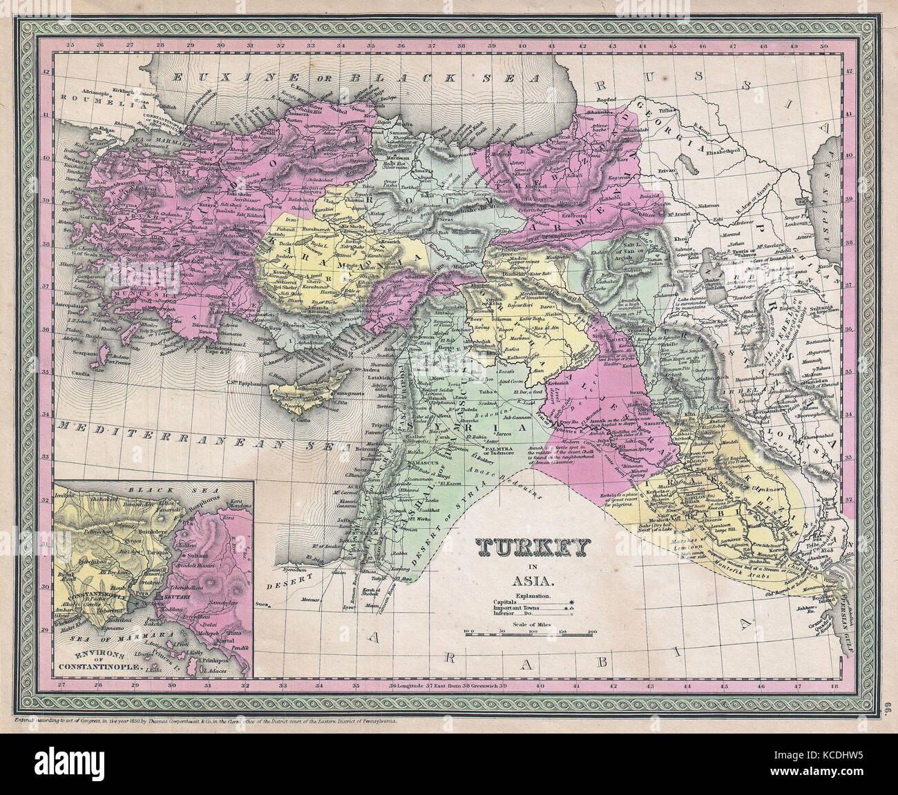 Syrien Irak Karte.1853 Mitchell Karte Der Türkei In Asien Palästina Syrien Irak