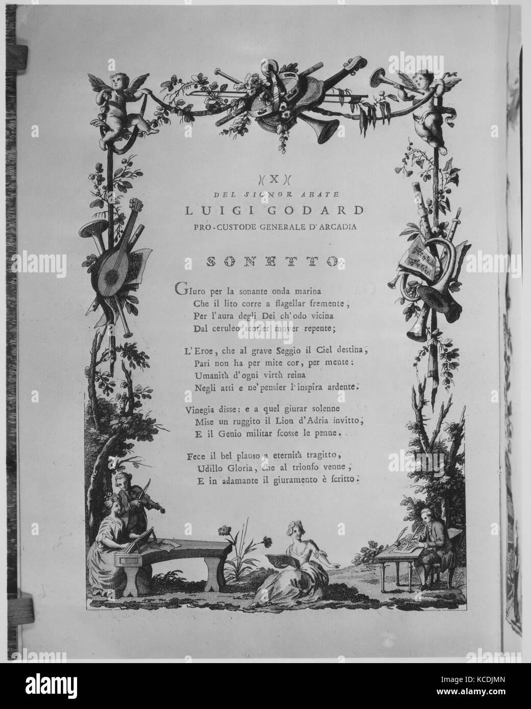 Poesie per l'ingresso solenne di sua Eccellenza il Signor Gio: Antonio Gabriel Cavaliere, e cancellier Grande Stockfoto