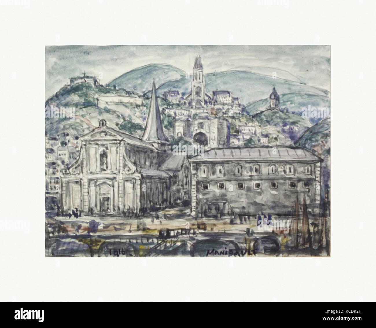 Eine Stadt in Frankreich, 1916, Aquarell auf Papier, 5 1/2 x 7 3/4 in. (14 x 19,7 cm), Zeichnungen, e. Middleton Stockbild