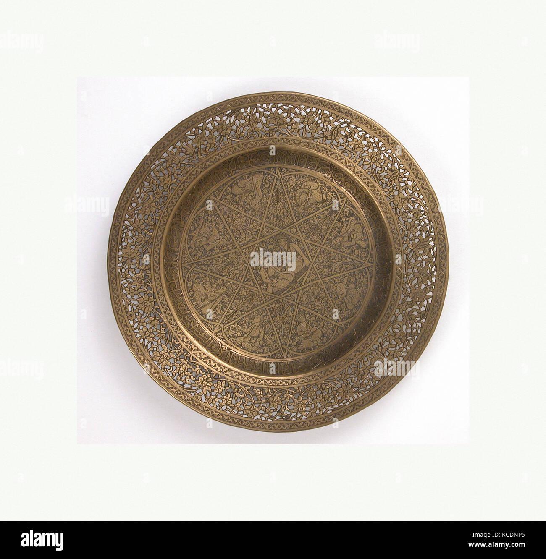 Platte, 18. Jahrhundert, zurückzuführen auf Iran, Messing, graviert ...