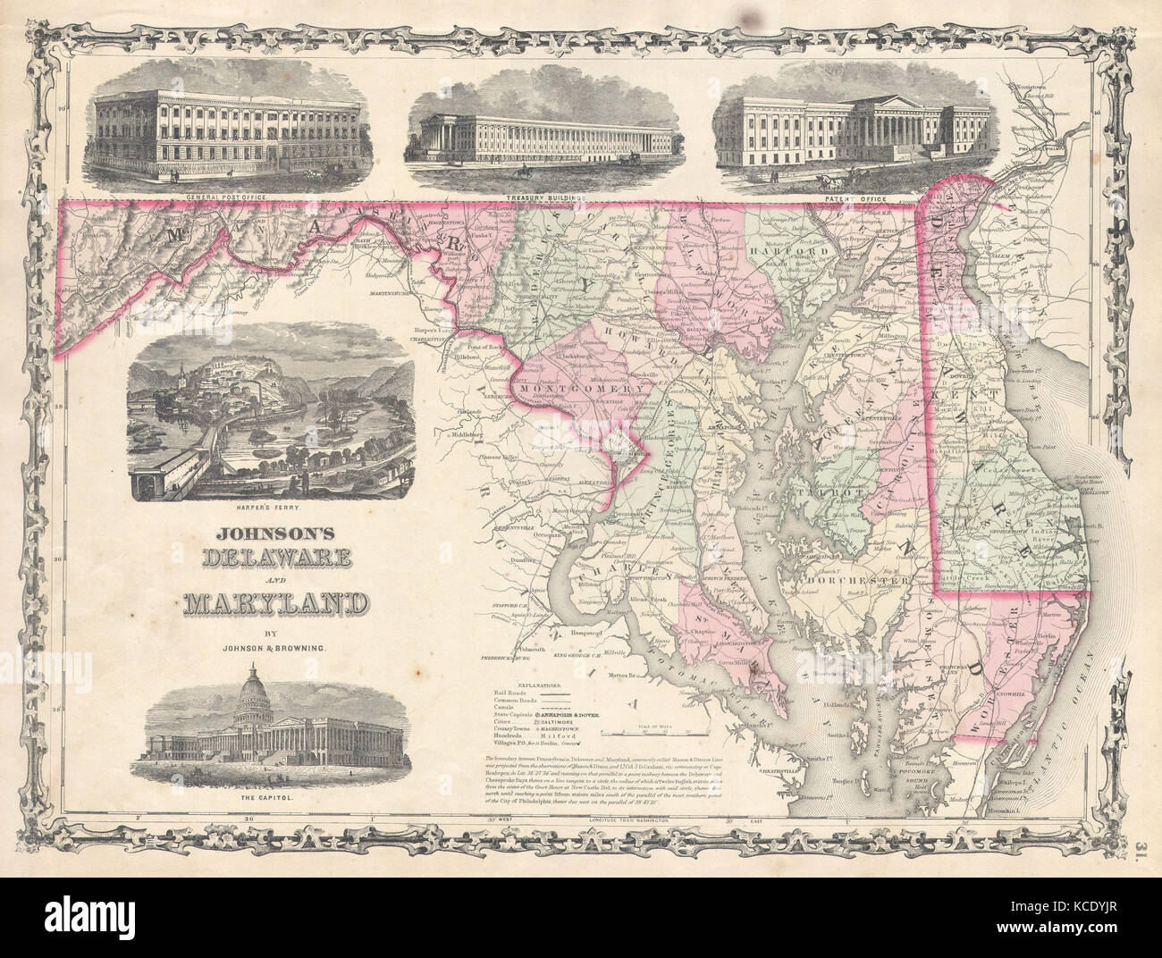 Johnson Map Of Delaware And Maryland Stockfotos & Johnson Map Of ...