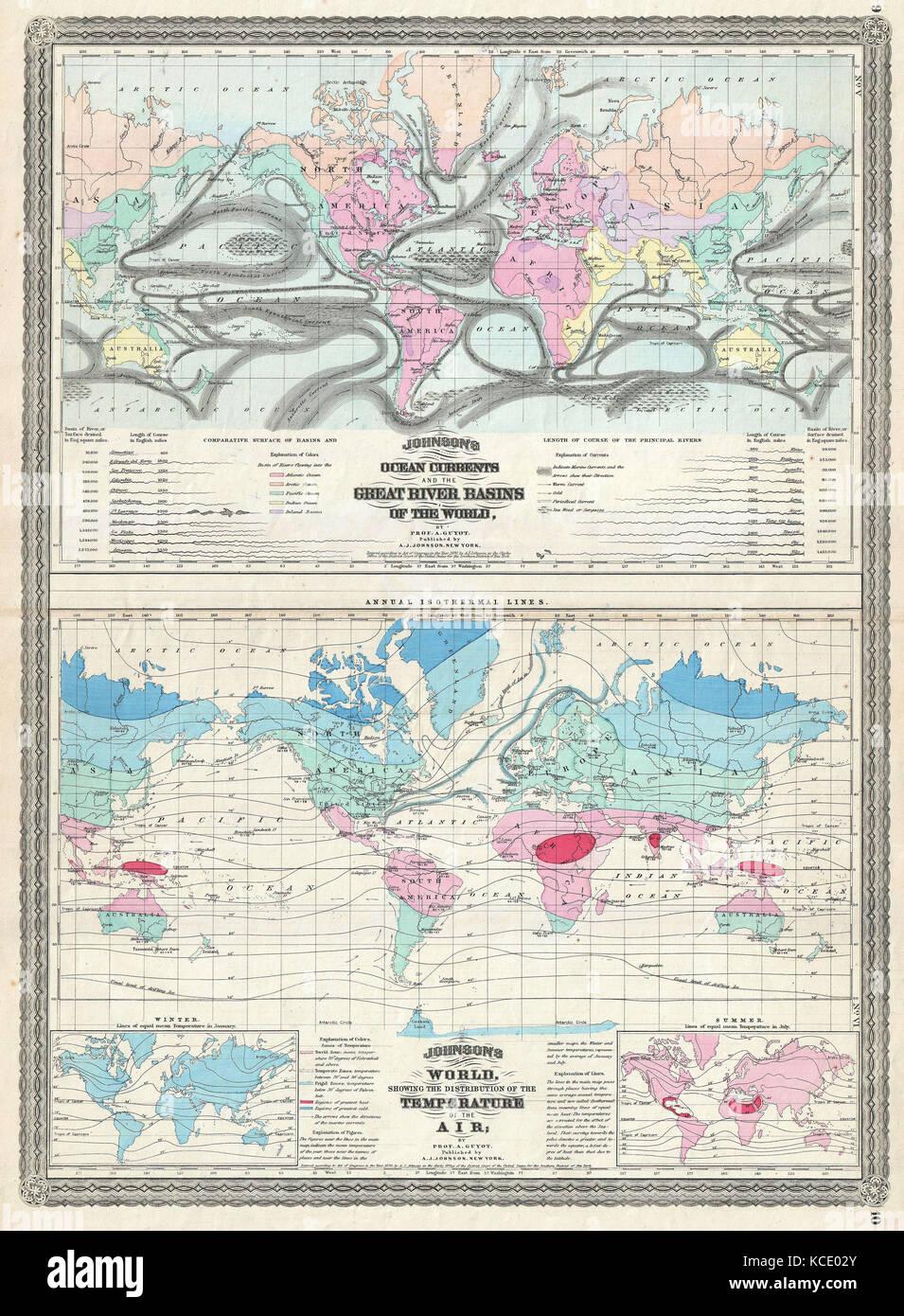 1870 Johnson Weltkarte Mit Temperatur Und Meeresstromungen