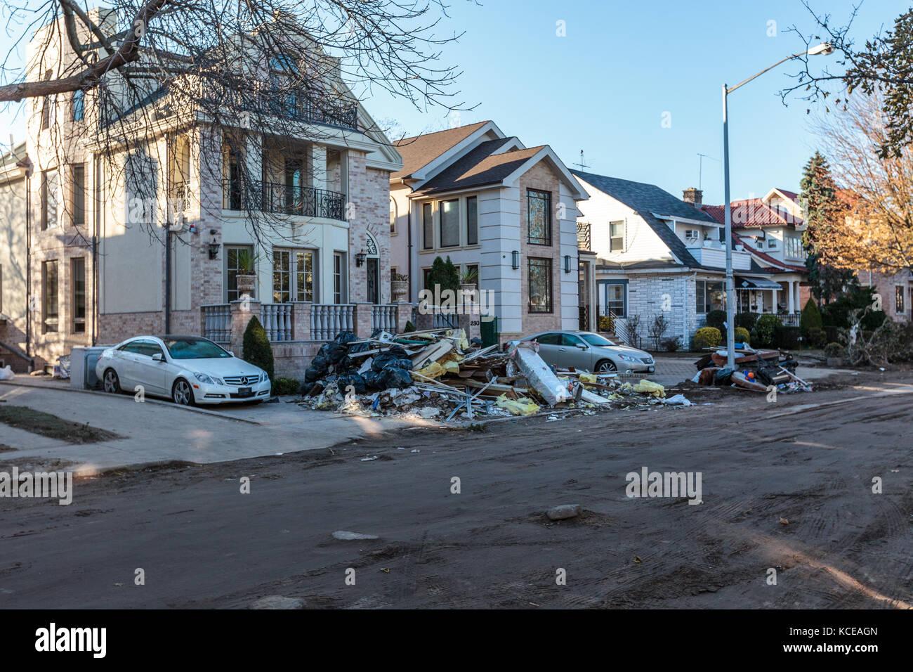 Hurrikan Sandy Schäden in New York City, State Bereich Stockbild