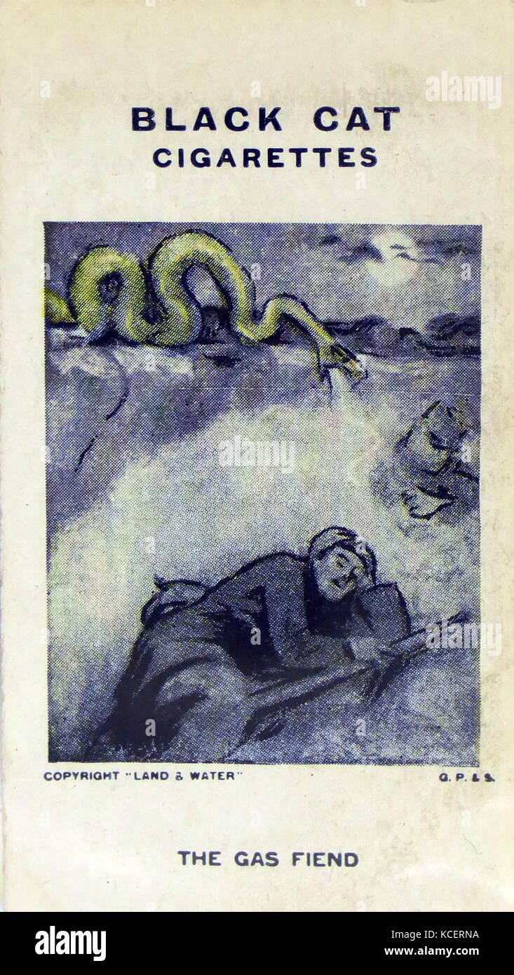 Schwarze Katze Zigaretten, Erster Weltkrieg, Propaganda Karte Übersicht: Gas als stealth Waffe gegen einen Stockbild