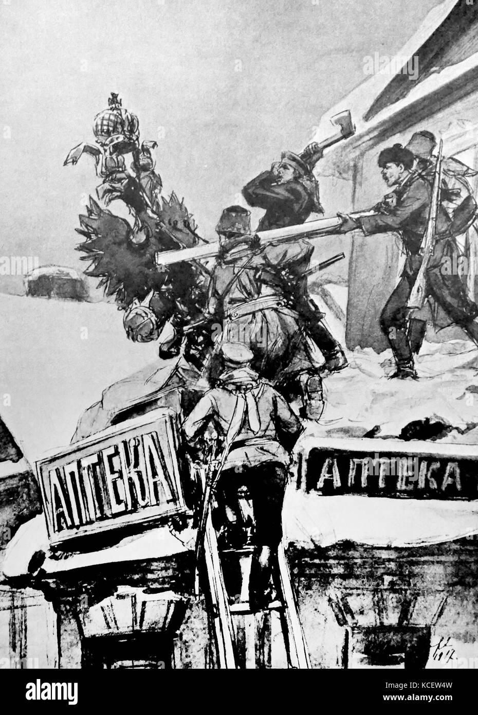 Die russischen Revolutionäre zerstören Embleme der zaristischen Herrschaft 1917 Stockbild