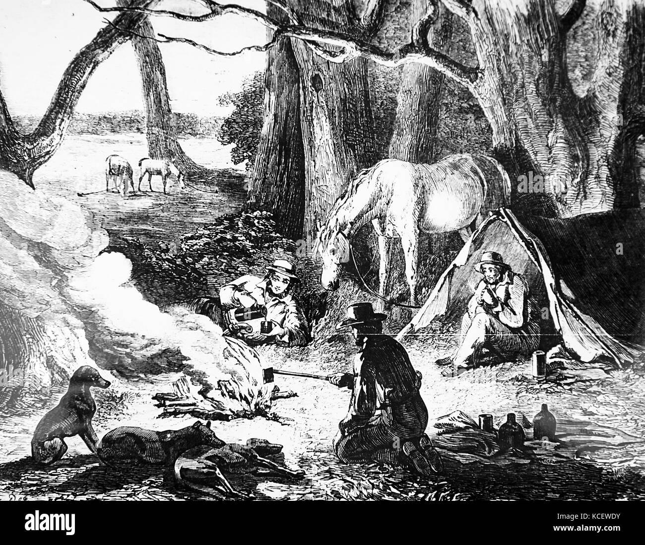 Abbildung: Darstellung der australischen Rindern Männer für die Nacht lagerten. Vom 19. Stockbild