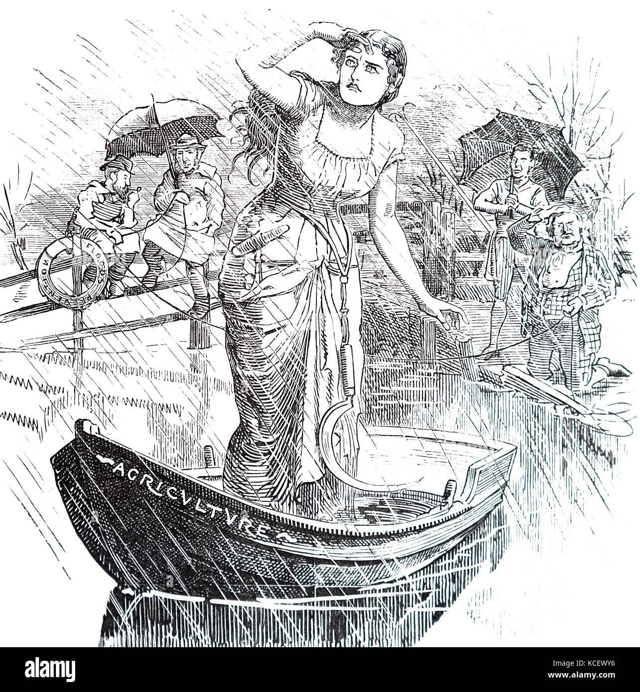 Cartoon mit der Darstellung der Charakter 'Landwirtschaft' auf den Horizont auf der Suche nach guten Wetter. Stockbild