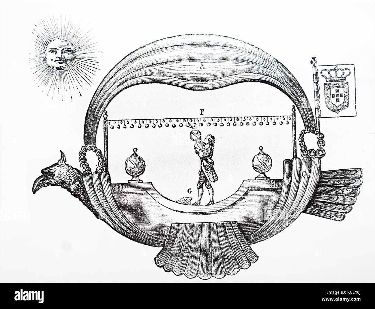 Karikatur von Jean-Pierre Blanchard's (1753-1809), ein französischer Erfinder, der Ballon. Vom 20. Jahrhundert Stockfoto
