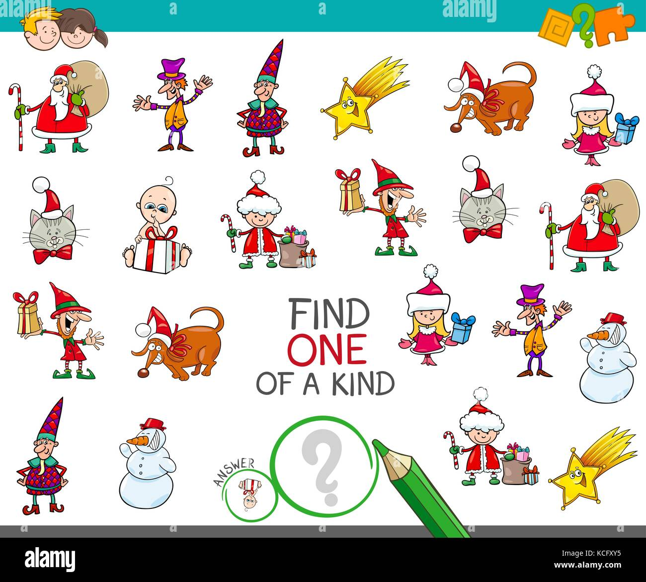 Cartoon Illustration Der Finden Der Eine Art Pädagogische Tätigkeit