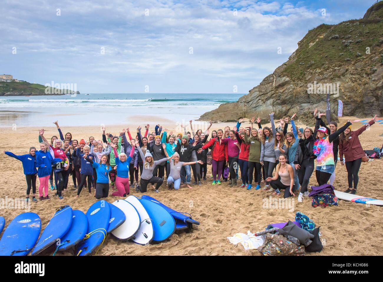 Surf Betty's Festival - ein Festival in Newquay bevollmächtigen und inspirierenden Frauen durch Surfen Stockbild