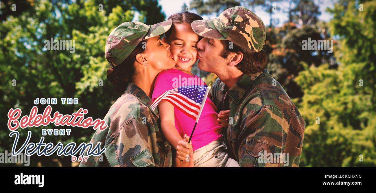Armee Paar küssen Tochter gegen Logo für Veteranen Tag in Amerika Stockfoto