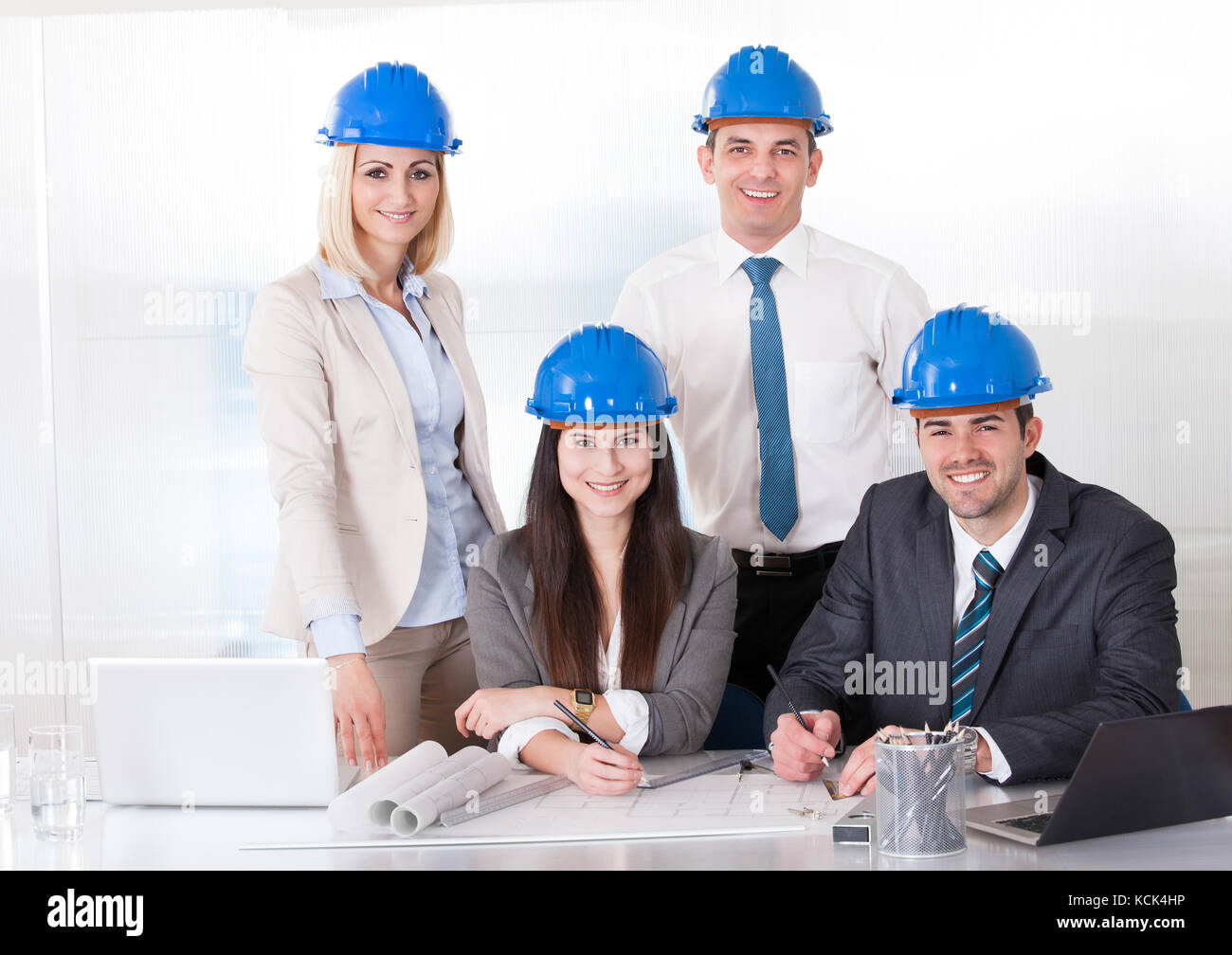 Gruppe von Architekten Menschen, die am Projekt Stockfoto