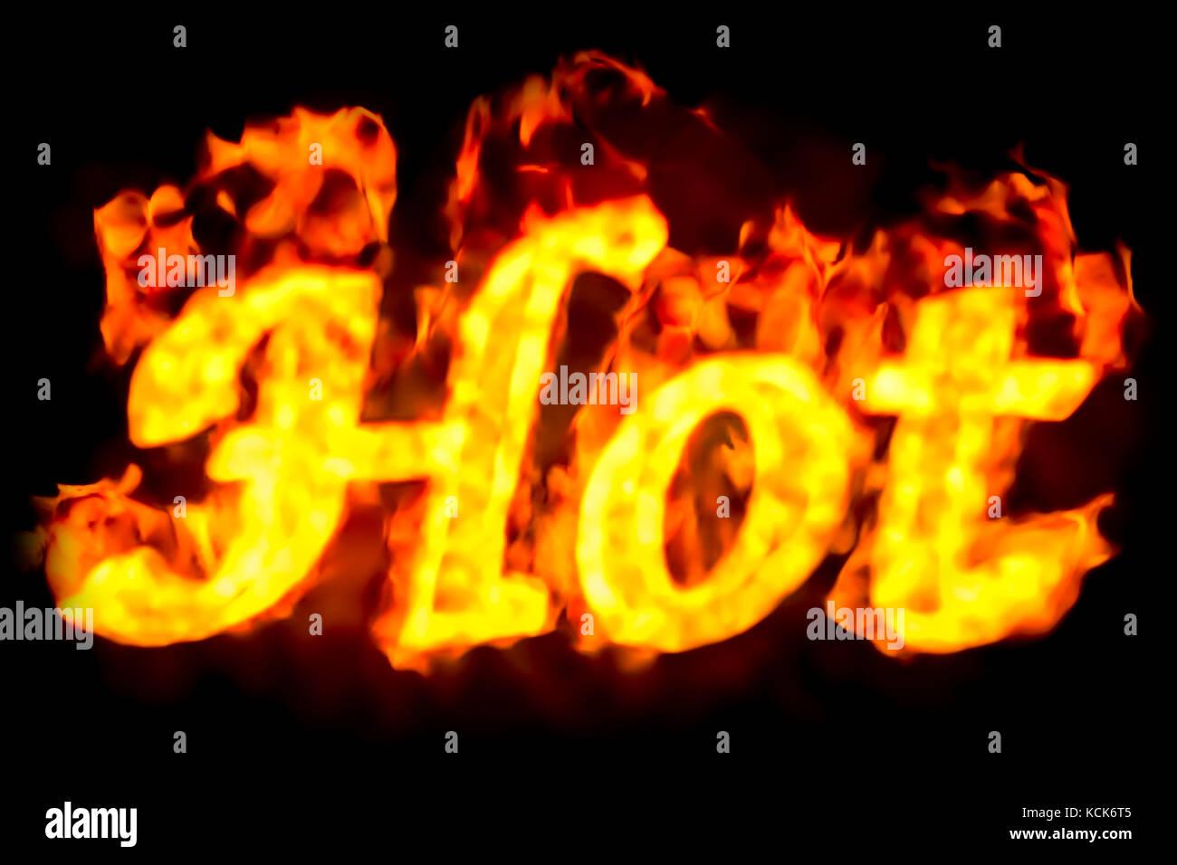 Feuer heiß Inschrift, 3D-Rendering Stockfoto, Bild: 162691653 - Alamy