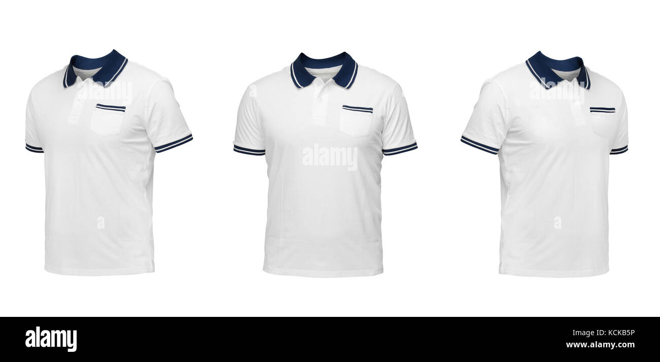Weißes Polohemd mit einem blauen Kragen. t-shirt Vorderansicht drei ...