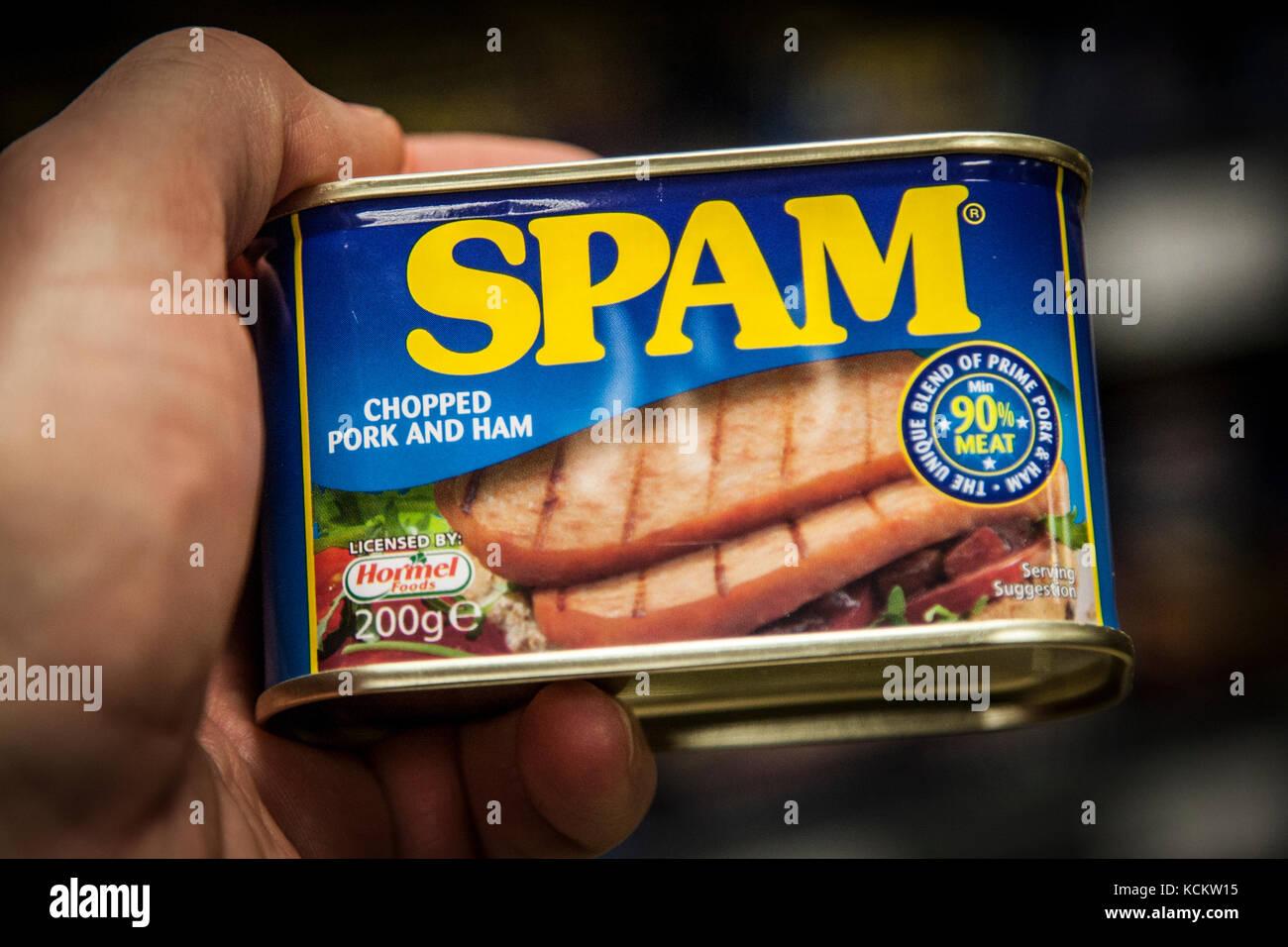 Blechdose von Spam in der Hand Stockbild