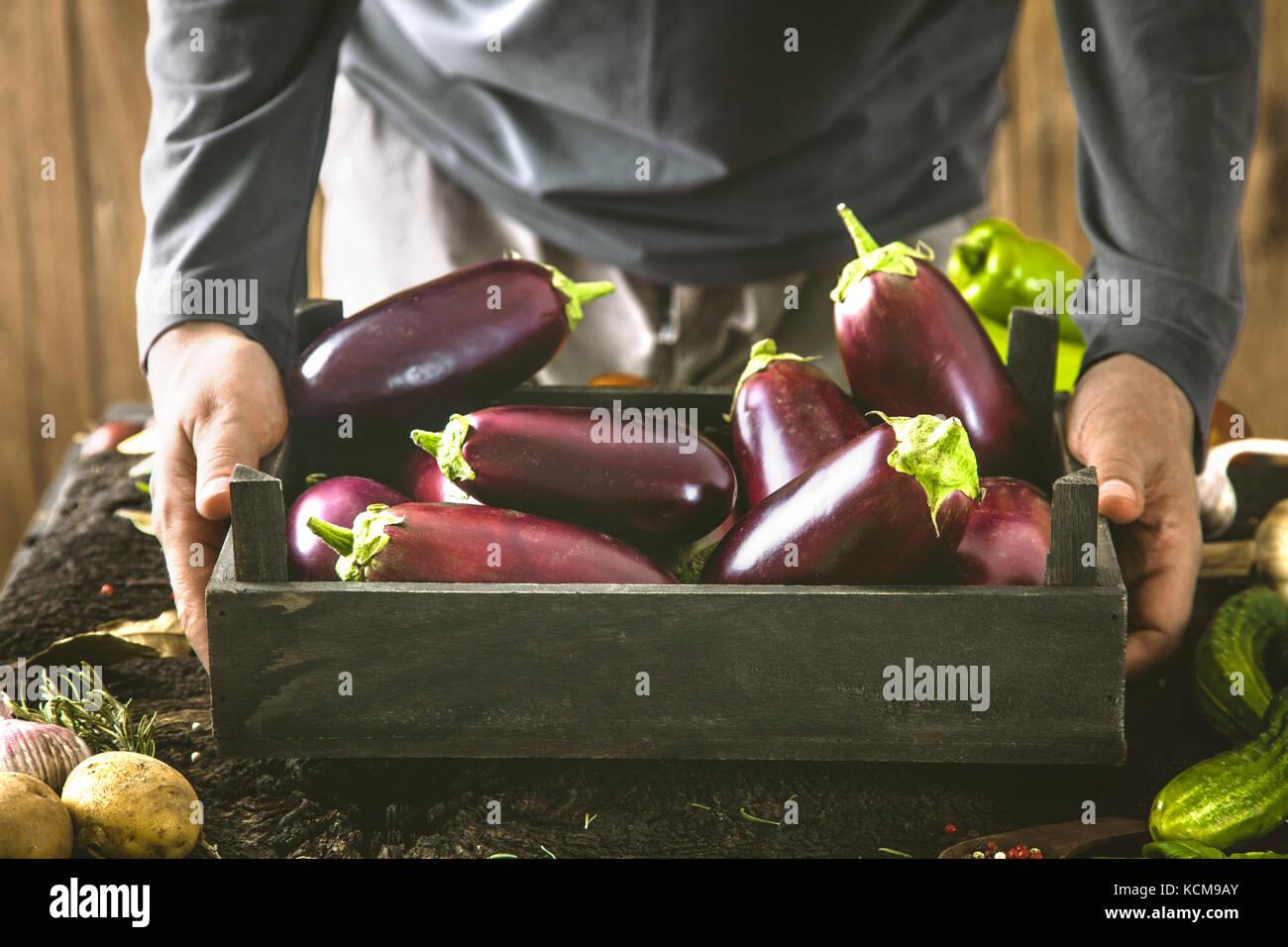Bio Gemüse. Landwirte, die Hände mit frisch geernteten Gemüse. frische organische ei Anlage. Stockbild