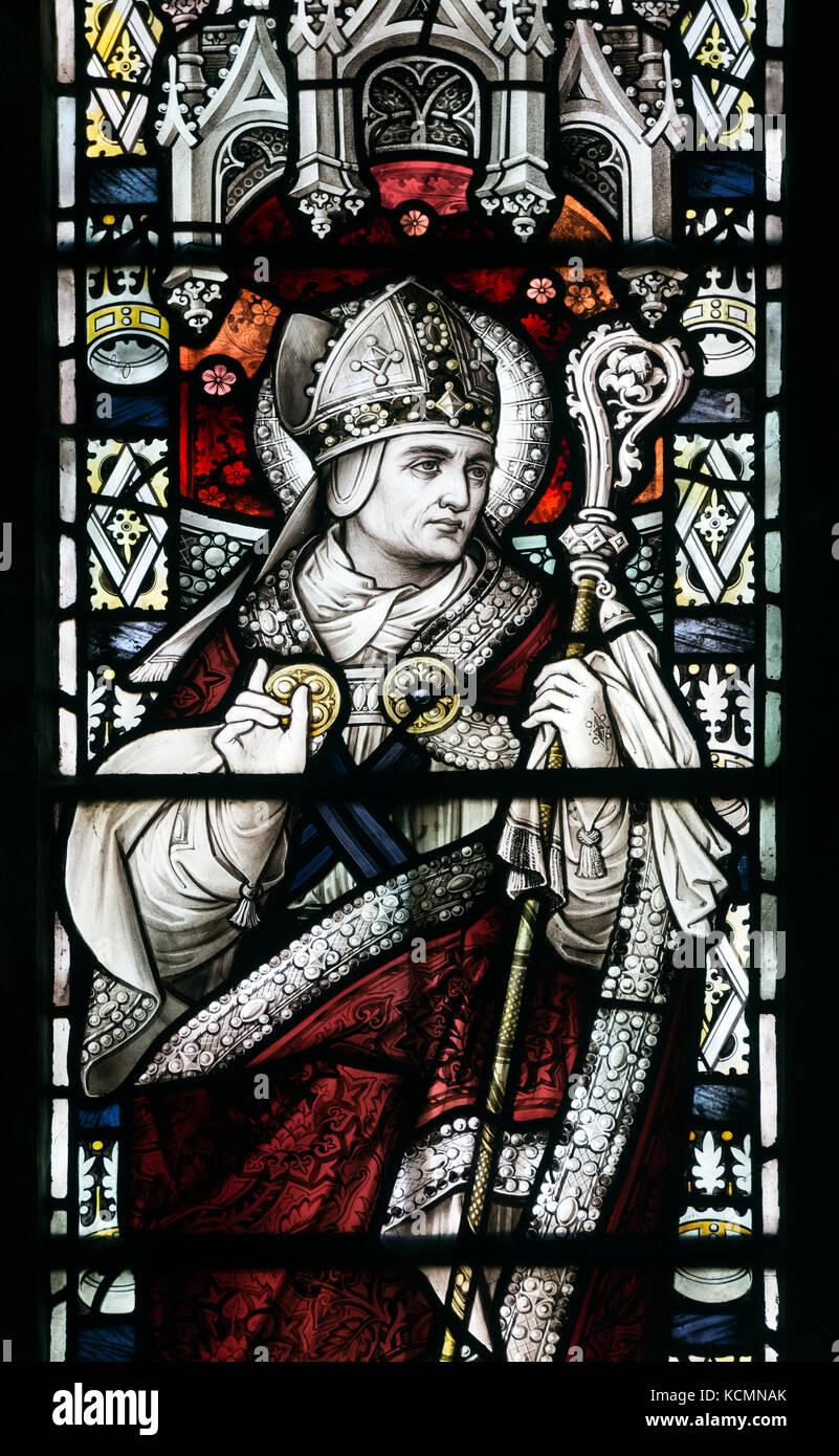 Saint Paul Glasmalerei, der St. Wilfrid's Church, North Muskham, Nottinghamshire, England, Großbritannien Stockbild