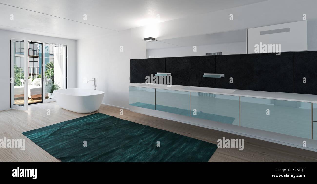 Sehr Geräumiges, Luxuriöses Bad Mit In Der Eitelkeit, Die Entlang Der Wand  Gebaut, Freistehende Badewanne Und Glas Türen Führen Auf Eine Terrasse.