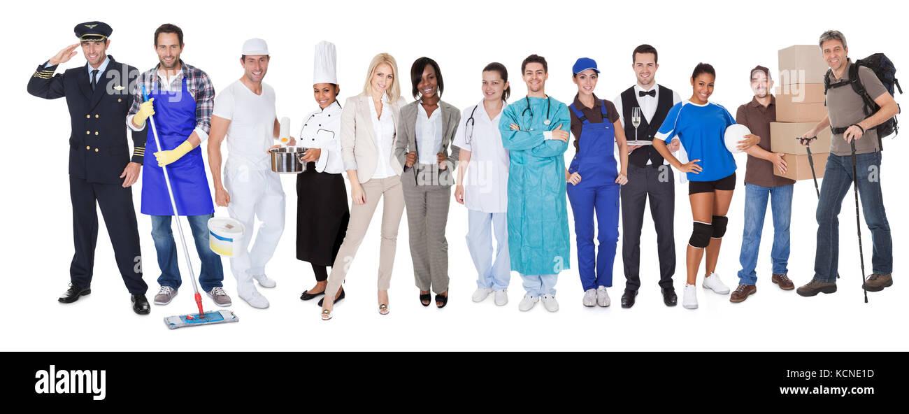 Große Gruppe von Menschen aus den verschiedenen Berufe, einschließlich Stockbild