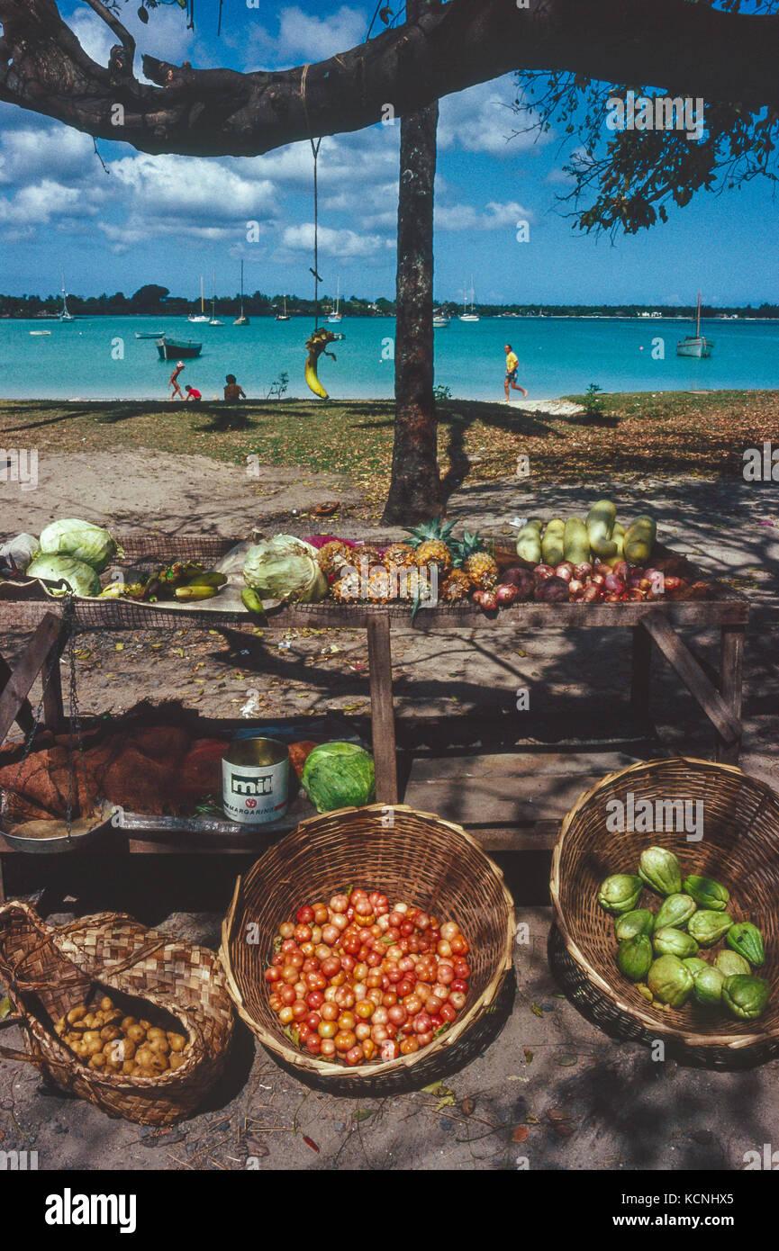 Exotische Früchte auf Street Market in Grand Bay, Mauritius Stockbild
