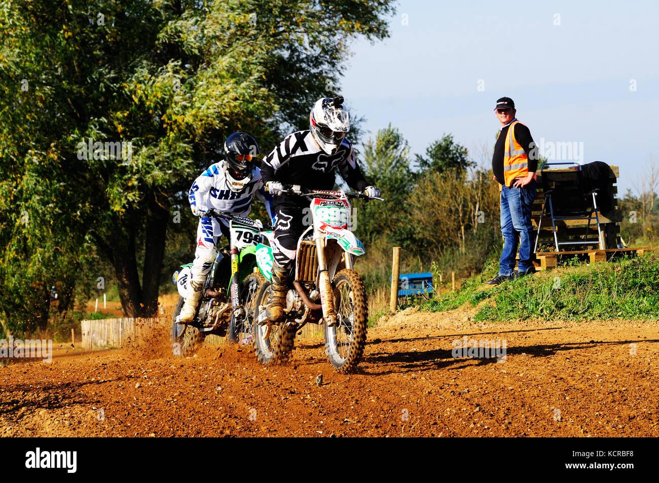 Training bei motocross Track Stockbild