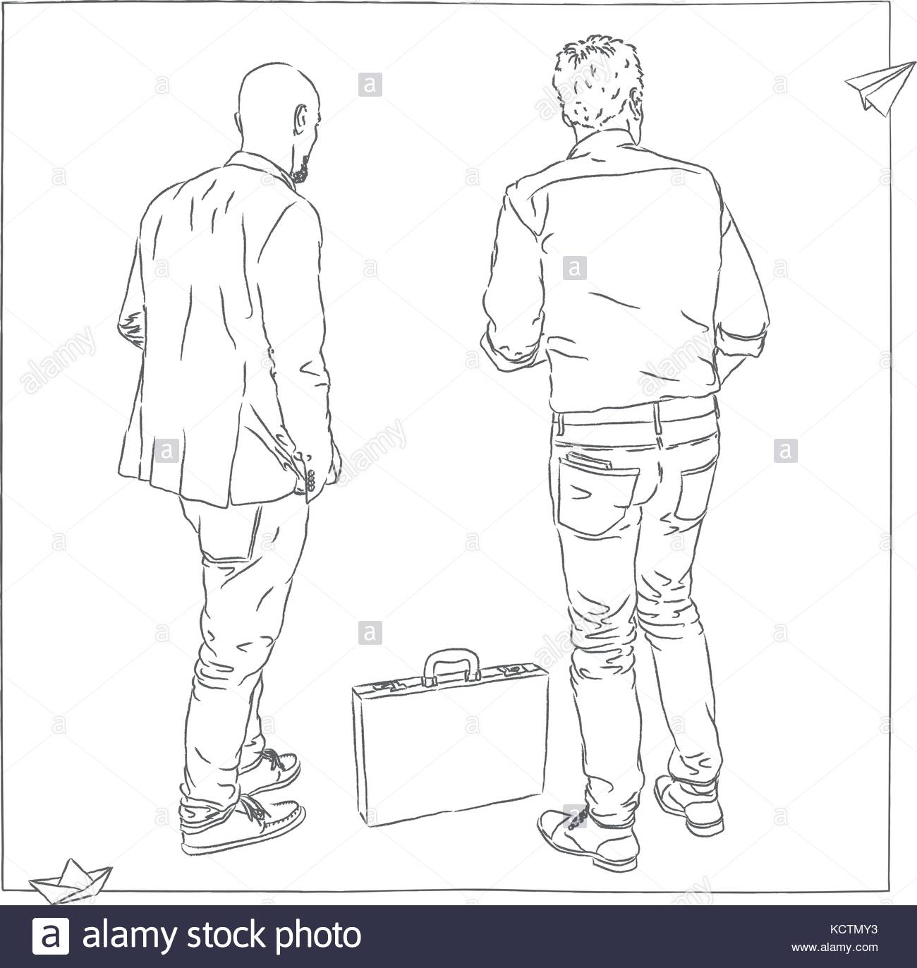 Zuruck Blick Auf Zwei Manner In Anzugen Aktenkoffer Auf Dem Boden