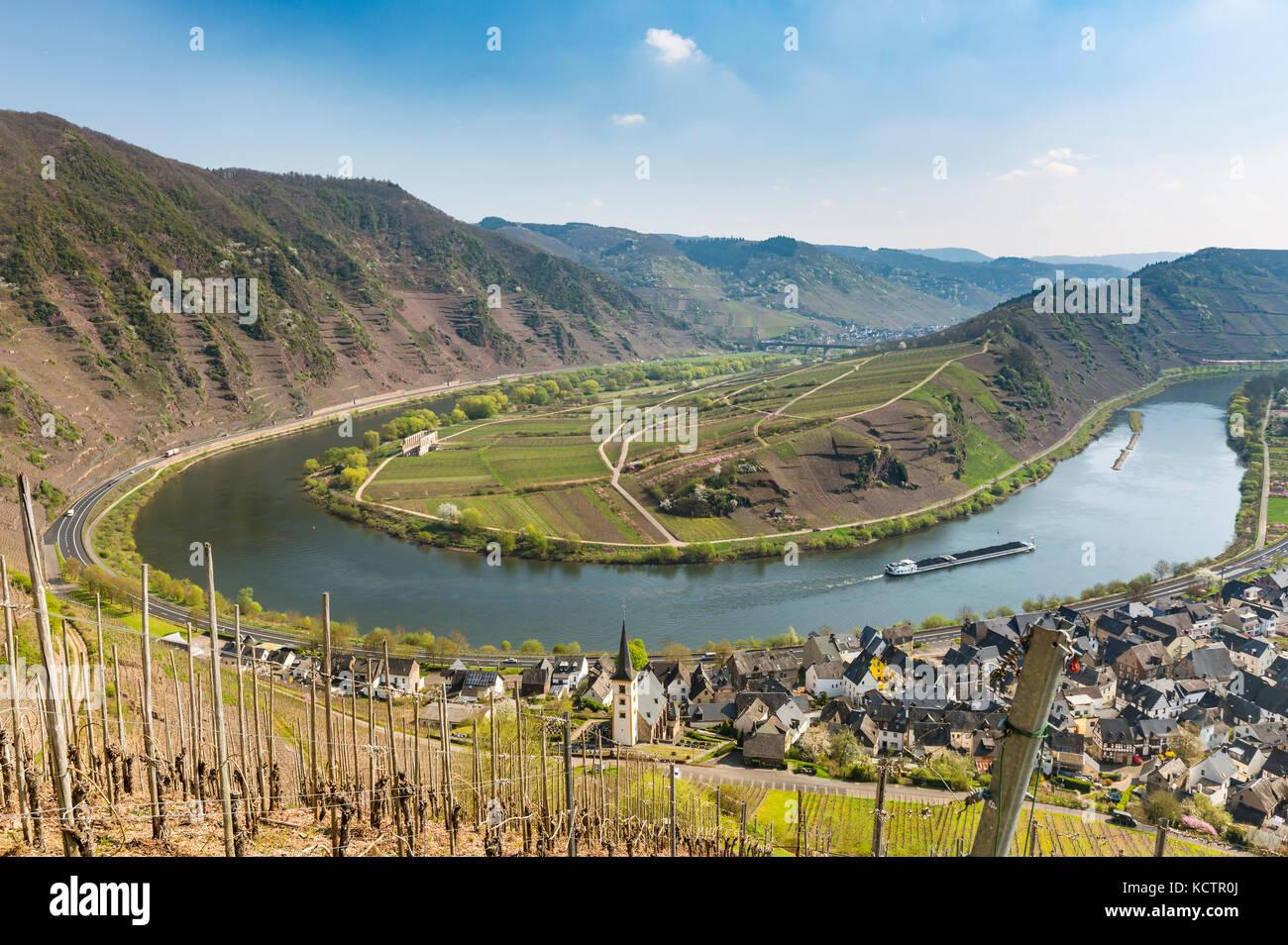 Die berühmten Mosel Riverbend in bremm, Deutschland aus dem Calmont ...