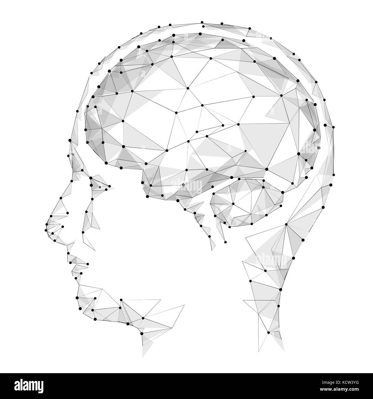 Konzept der aktiven menschlichen Gehirn mit binären Code stream ...