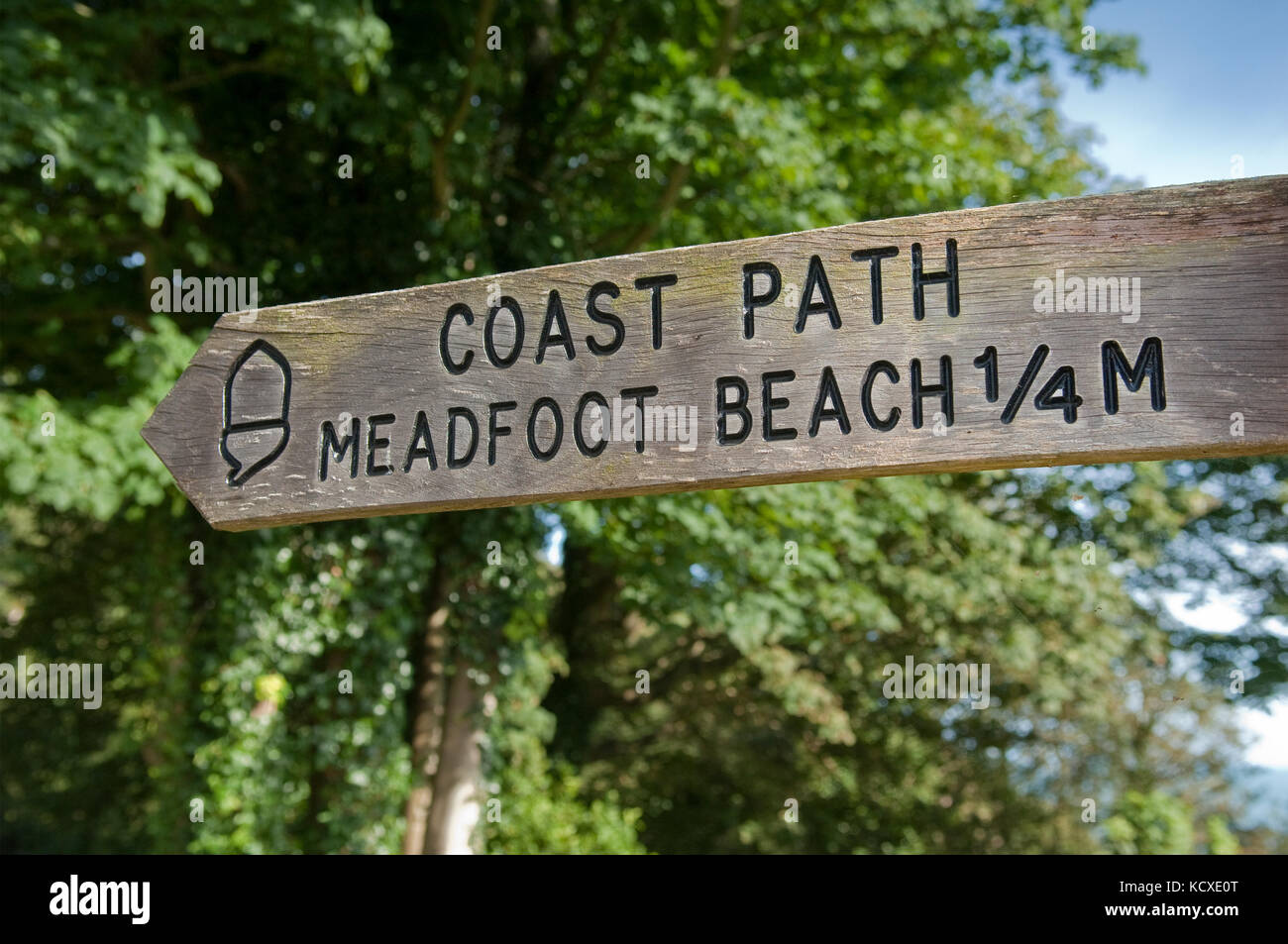 Holz- finger Post unterzeichnen Meadfoot Beach. Mit acorn Symbol der National Trail, und South West Coast Path. Stockbild