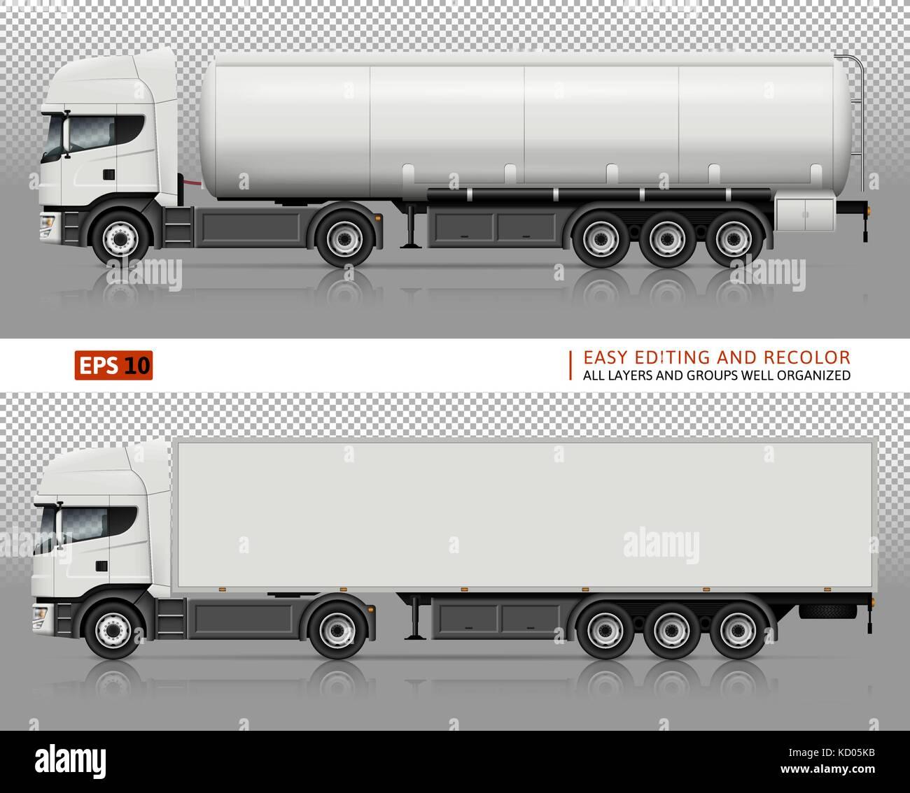 Nutzfahrzeuge vektor Mock-up für Auto Branding und Werbung. Tanker ...