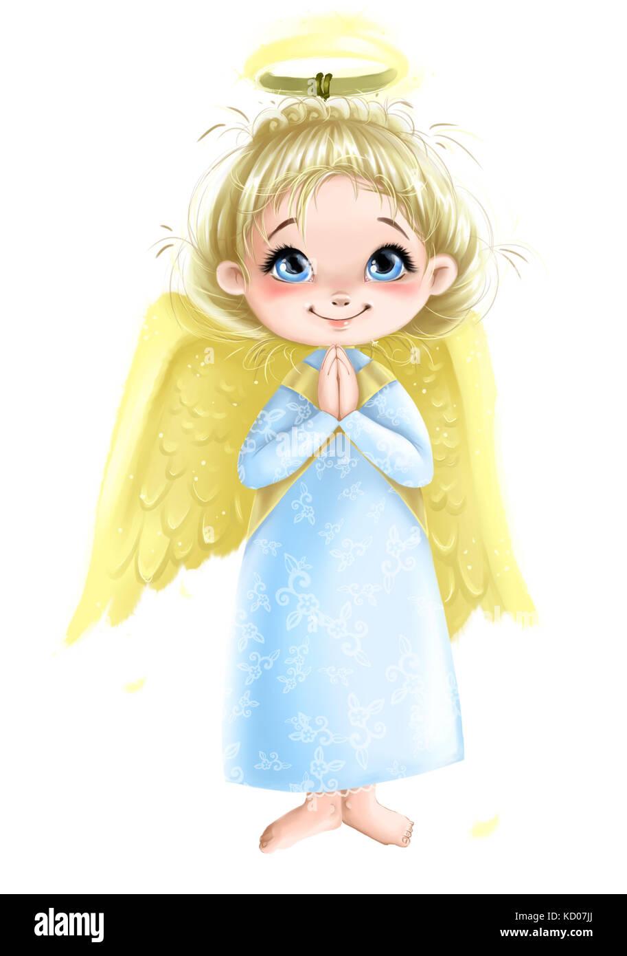 Süße Engel Mädchen Mit Flügeln Beten Abbildung Transparente