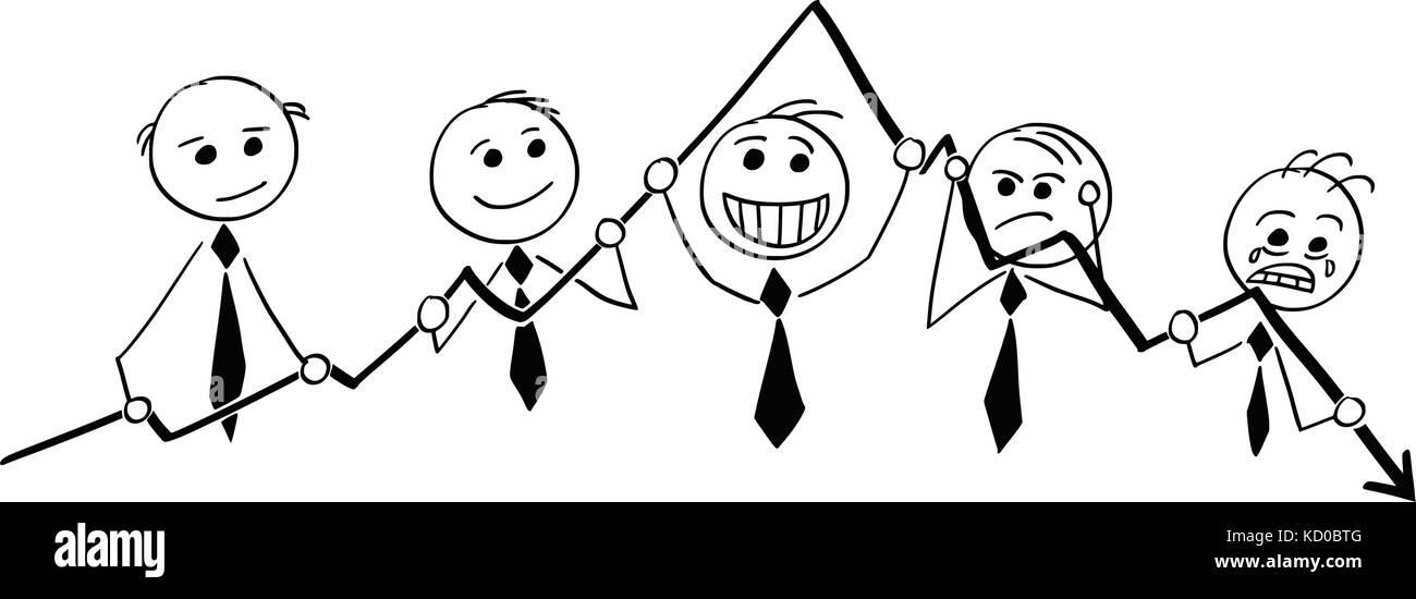 Cartoon stick Mann Abbildung: Gruppe von Geschäftsleuten Geschäftsmann holding Grafik und zeigt Gefühle. Stockbild