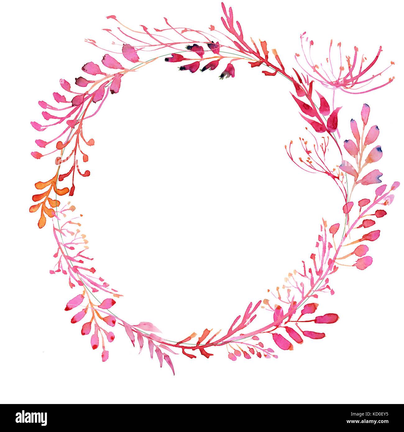 Romantische Aquarell rosa Zweig und Blumen Kranz Rahmen Stockfoto ...