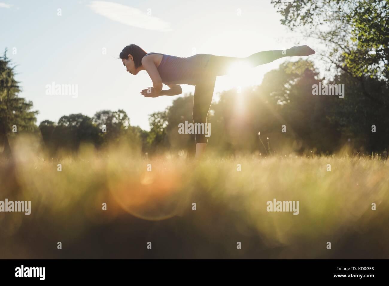 Reife Frau im Park, auf ein Bein, in Yoga Position, Low Angle View Stockbild