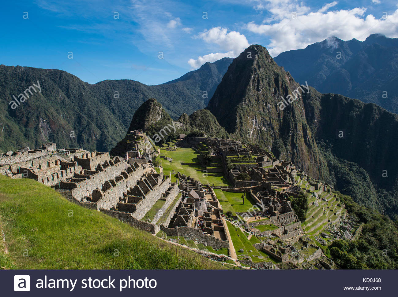 Ansicht von Inka Ruinen, Machu Picchu, Cusco, Peru, Südamerika Stockbild