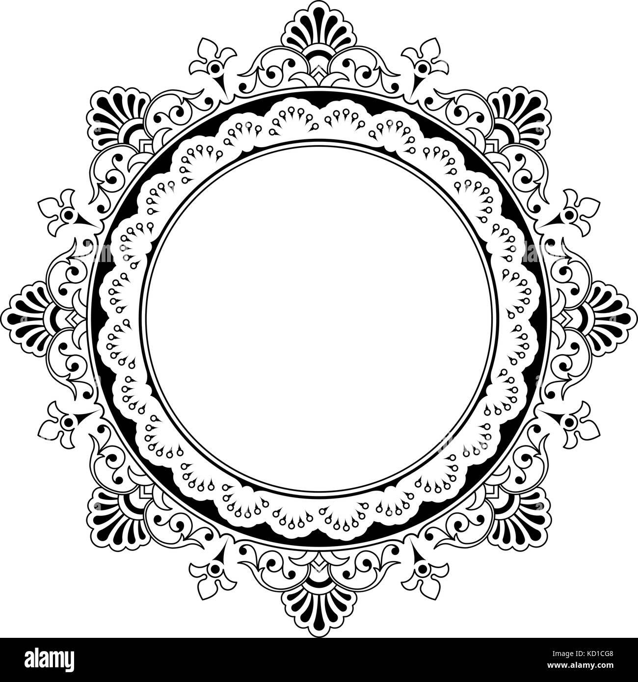 Schwarzer Rahmen Vektor auf weißem Hintergrund. Runde floralen ...