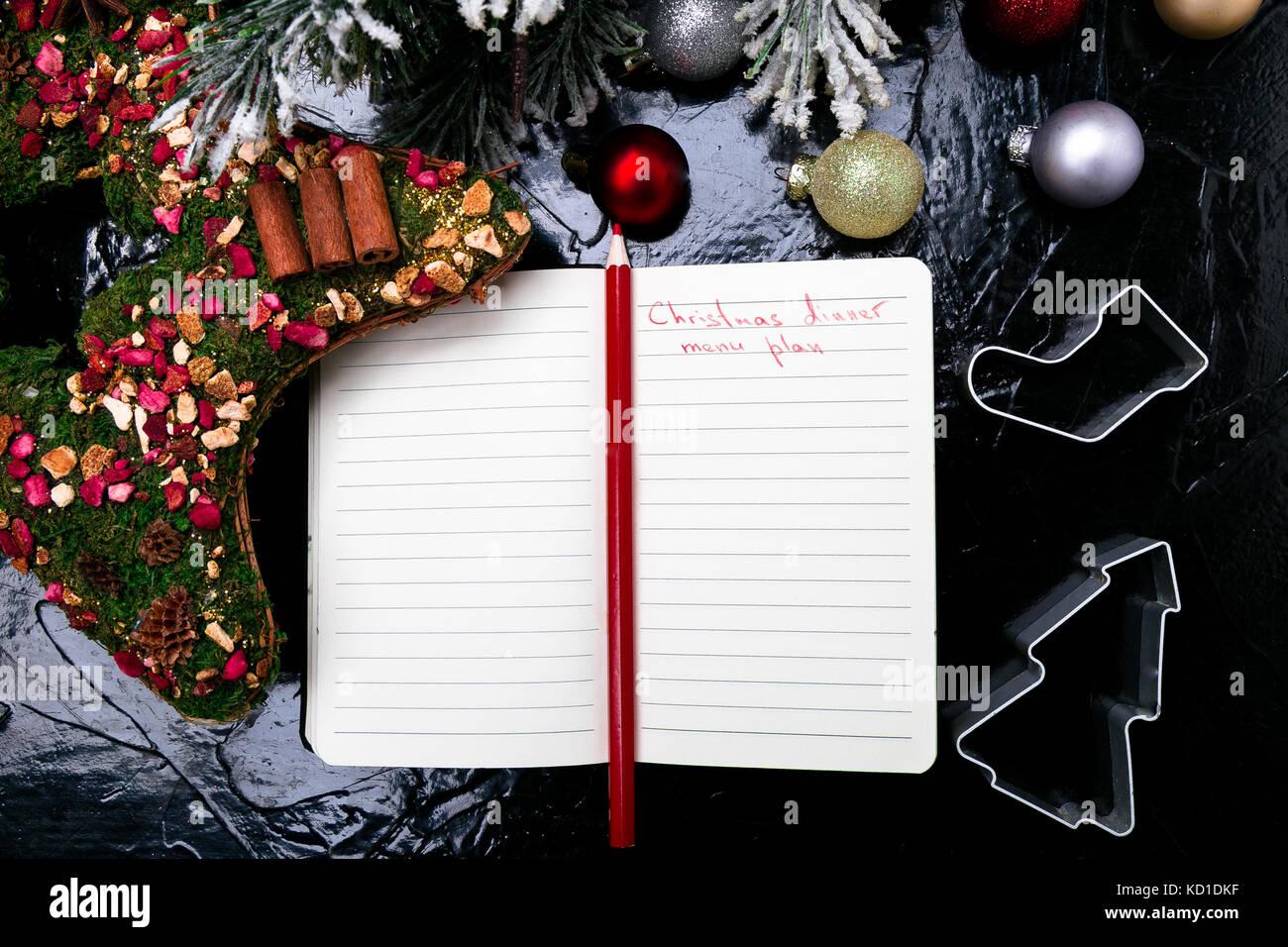 Menü Weihnachten.Weihnachten Menü Plan Hintergrund Für Das Schreiben Der