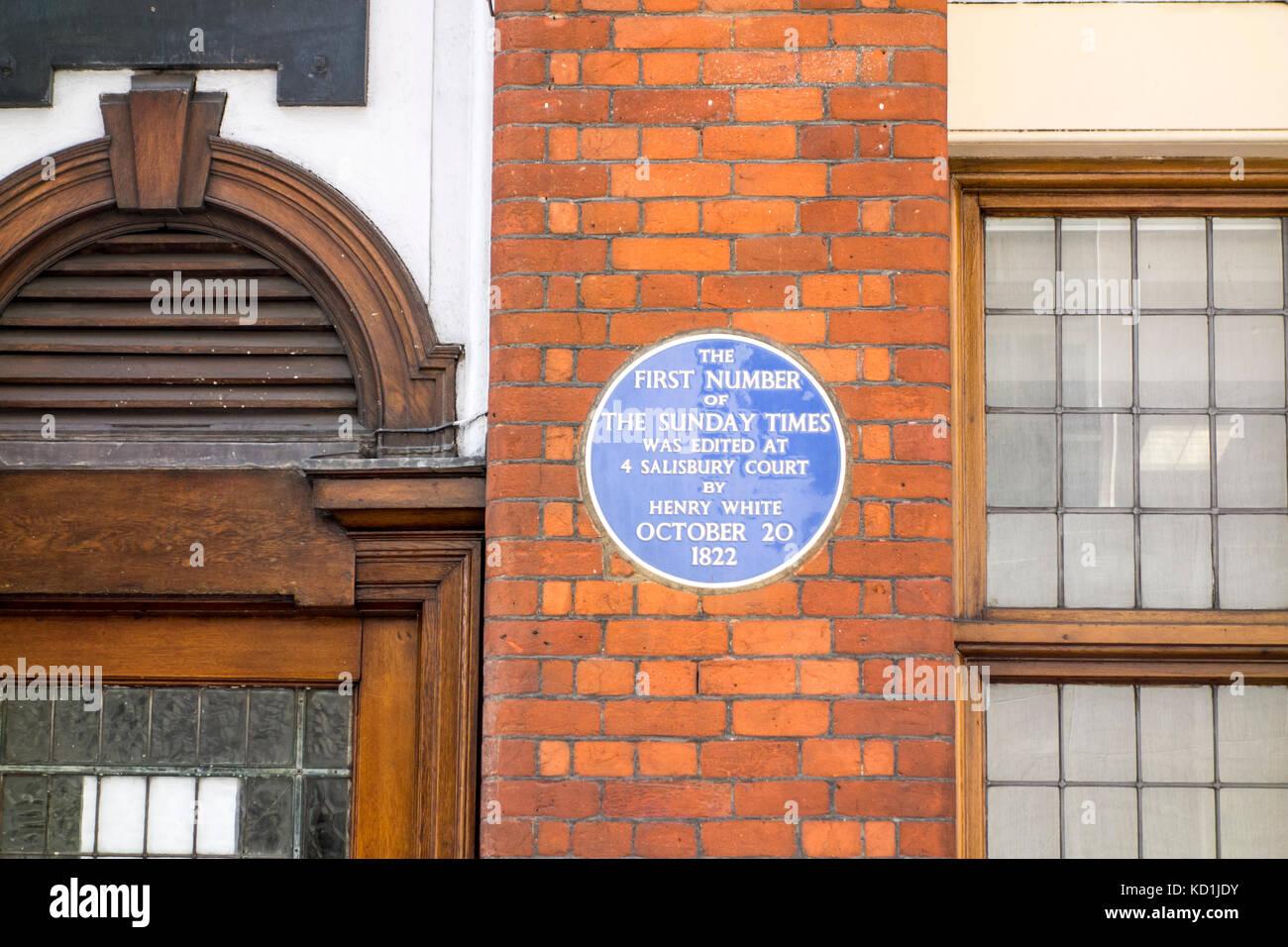 Blaue Plakette außerhalb Greenwood House, Salisbury Court, London City, Standort erste Sonntag Zeiten waren von Stockfoto