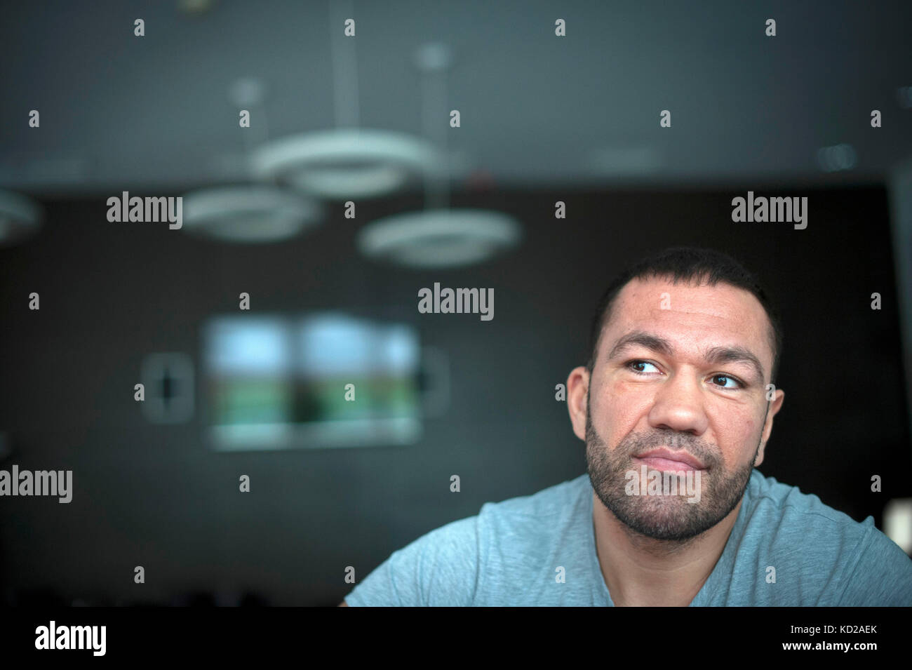Bulgarische schweres Gewicht Boxer Kubrat Pulev am Bundesleistungszentrum Kienbaum (Kienbaum National Training Center) Stockfoto