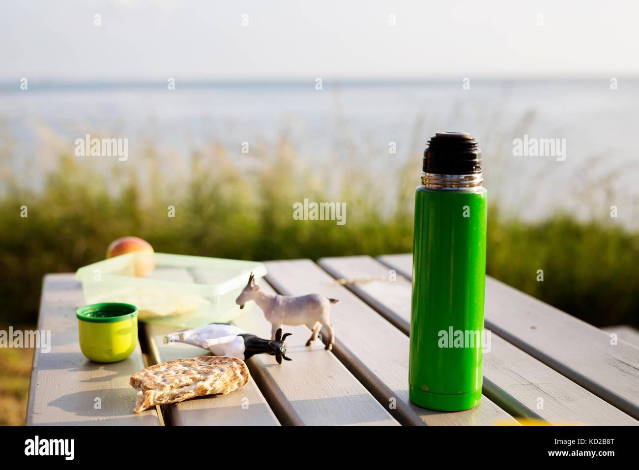 Isolierte drink Container- und Spielzeug auf Picknick Tisch Stockbild