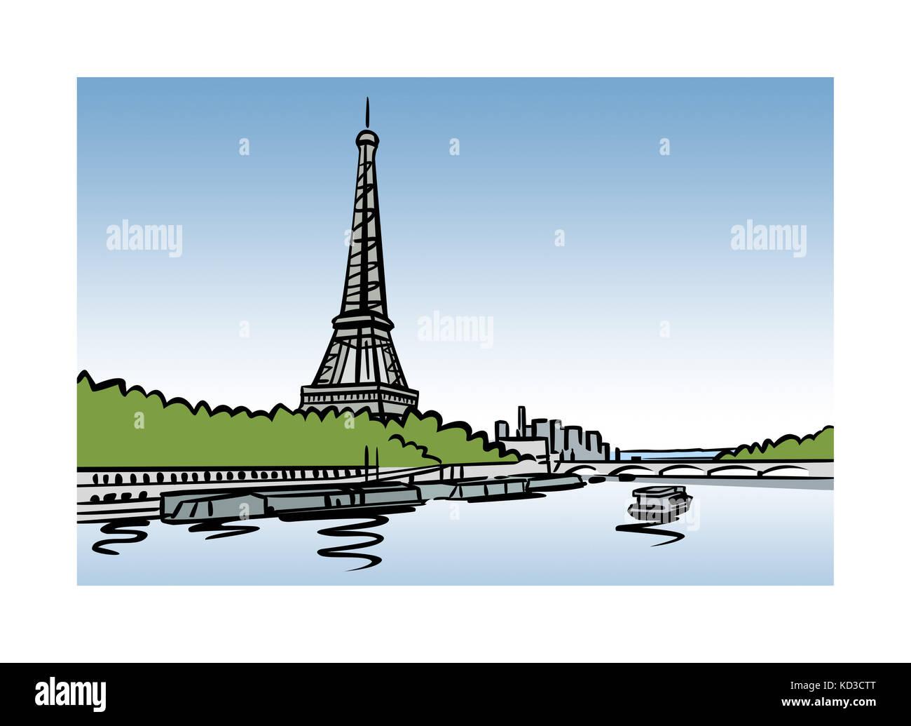 Abbildung: Auf die Seine und den Eiffelturm in Paris, Frankreich Stockfoto